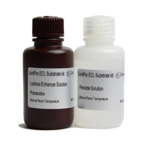 LumiPRO ECL substrate kit: 50ml Luminol/enhancer solution; 50ml Peroxide solution